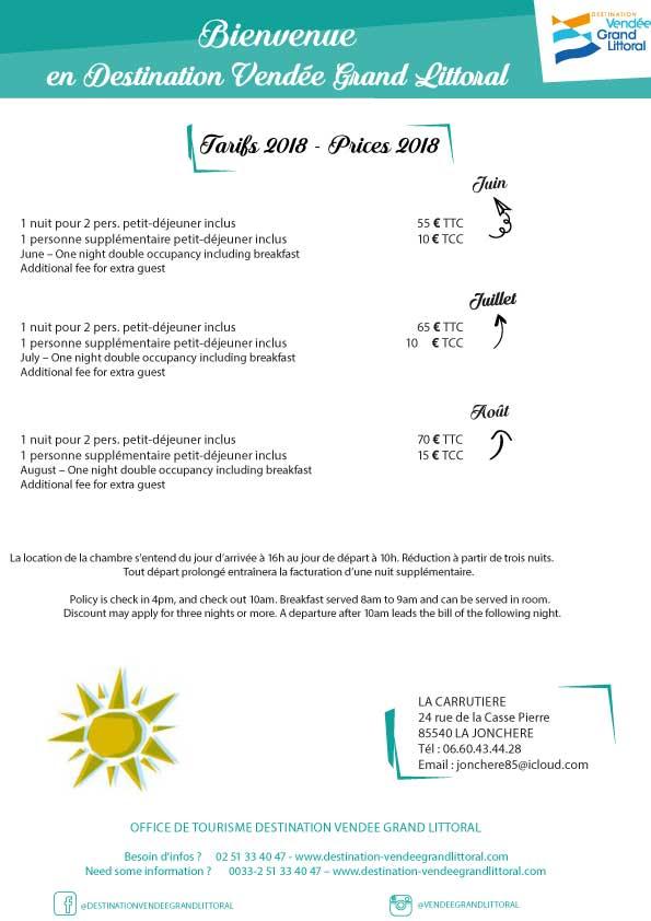 Exemple de fiche tarifaire réalisée par l'Office de Tourisme Destination Vendée Grand Littoral