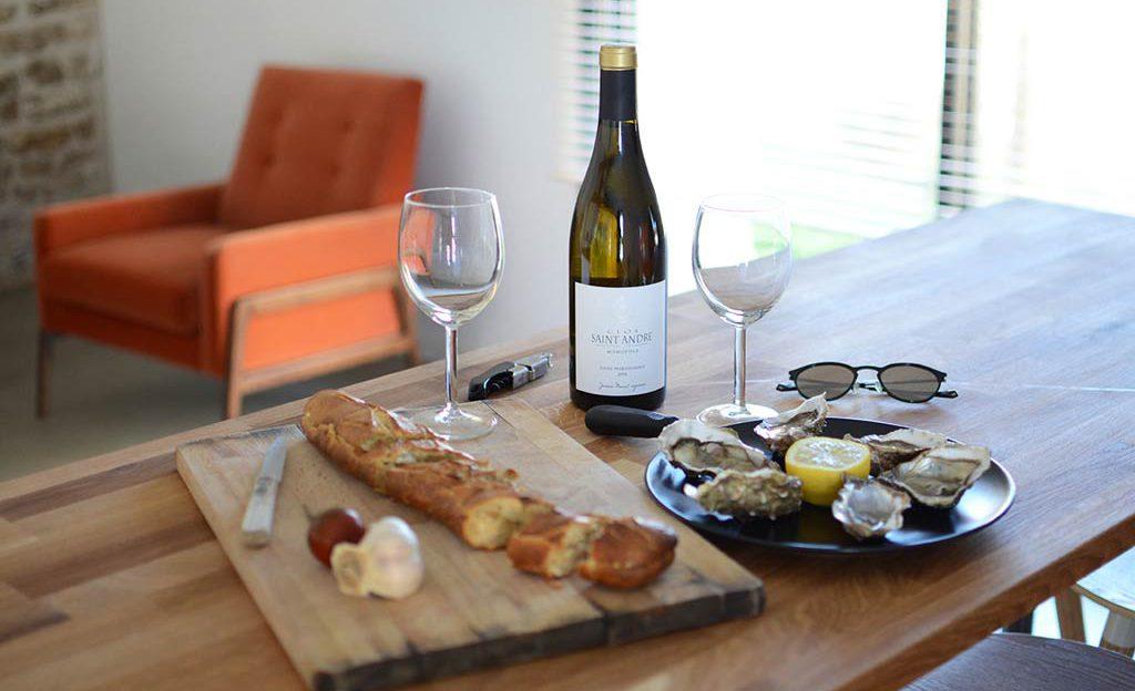 Producteur local huîtres vin blanc