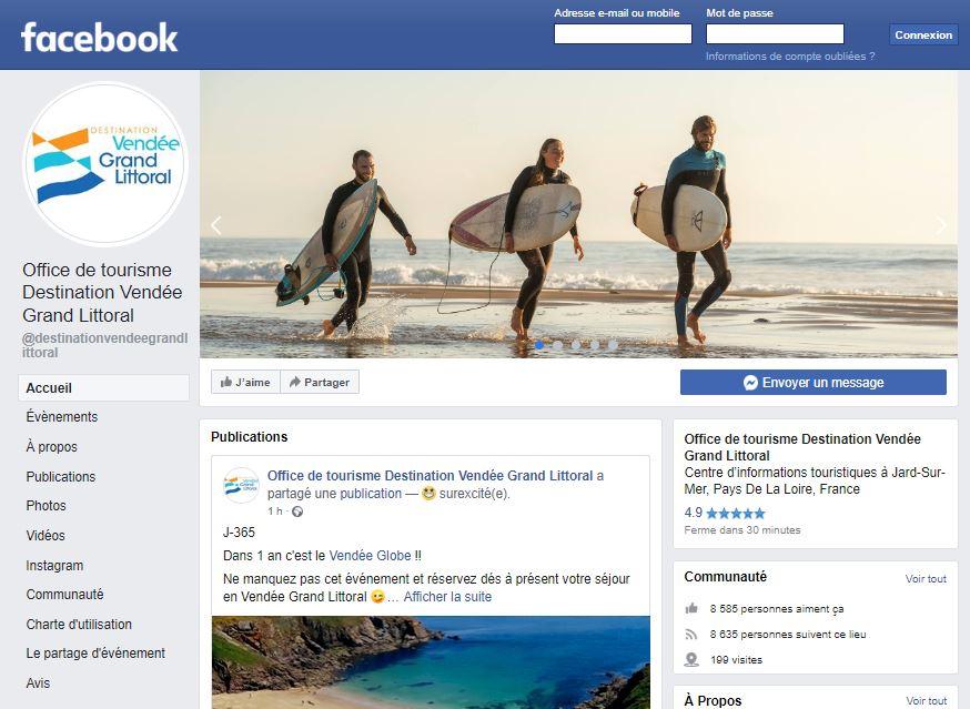 Page facebook office de tourisme Vendée Grand Littoral en 2019